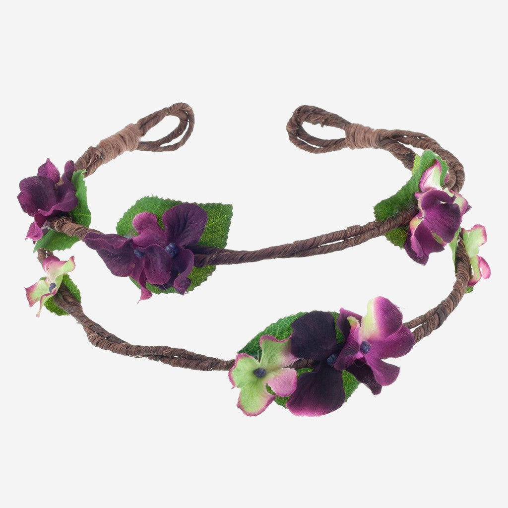 RAMONA Plum Floral Crown Headband