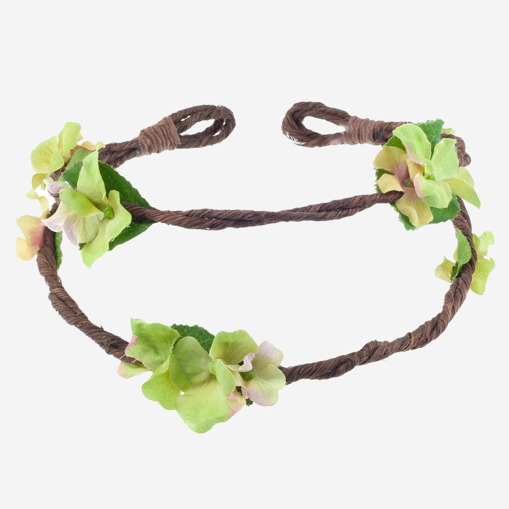 RAMONA Green Floral Crown Headband