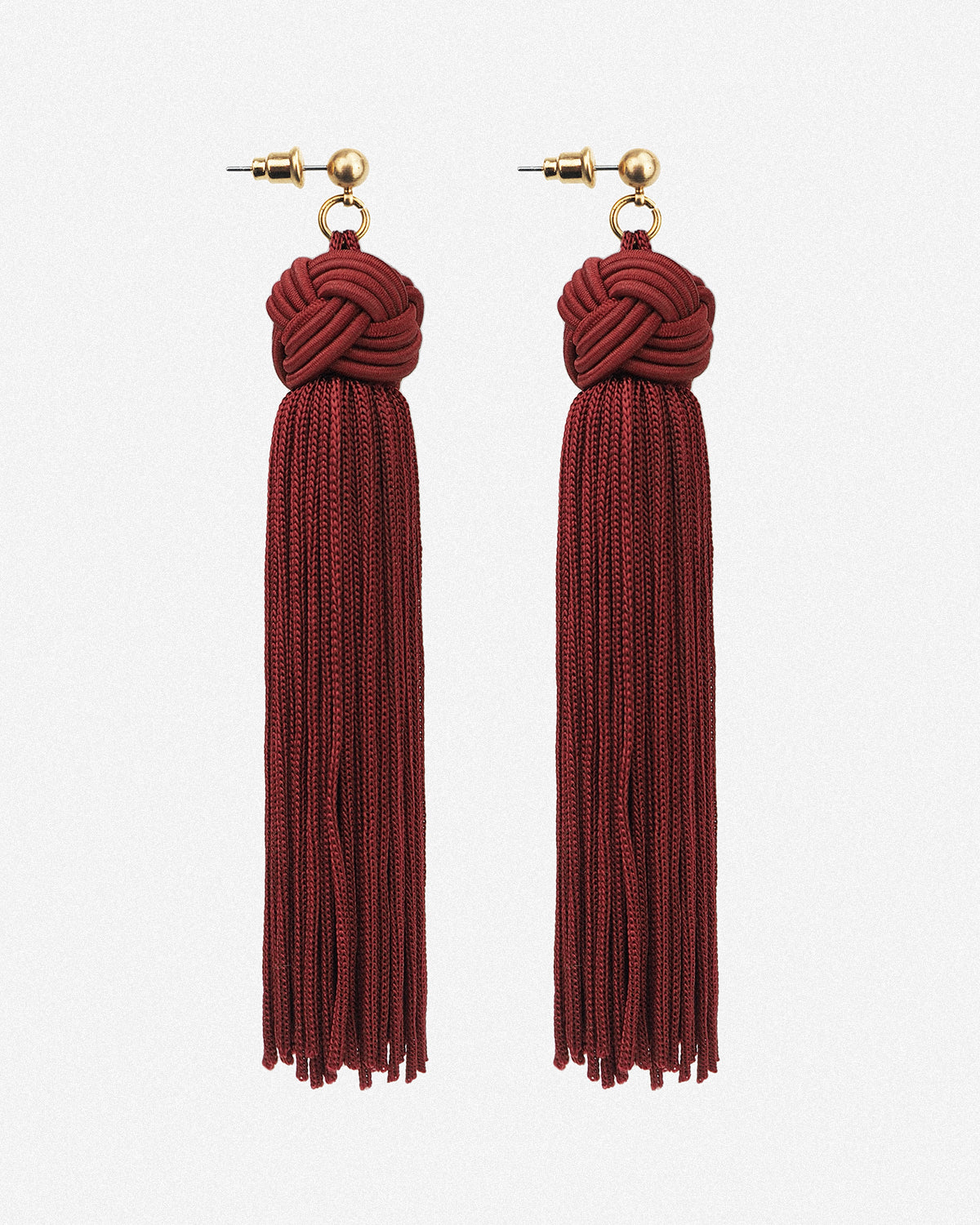 Image of Johanna Silky Tassel Drop Earrings - Red
