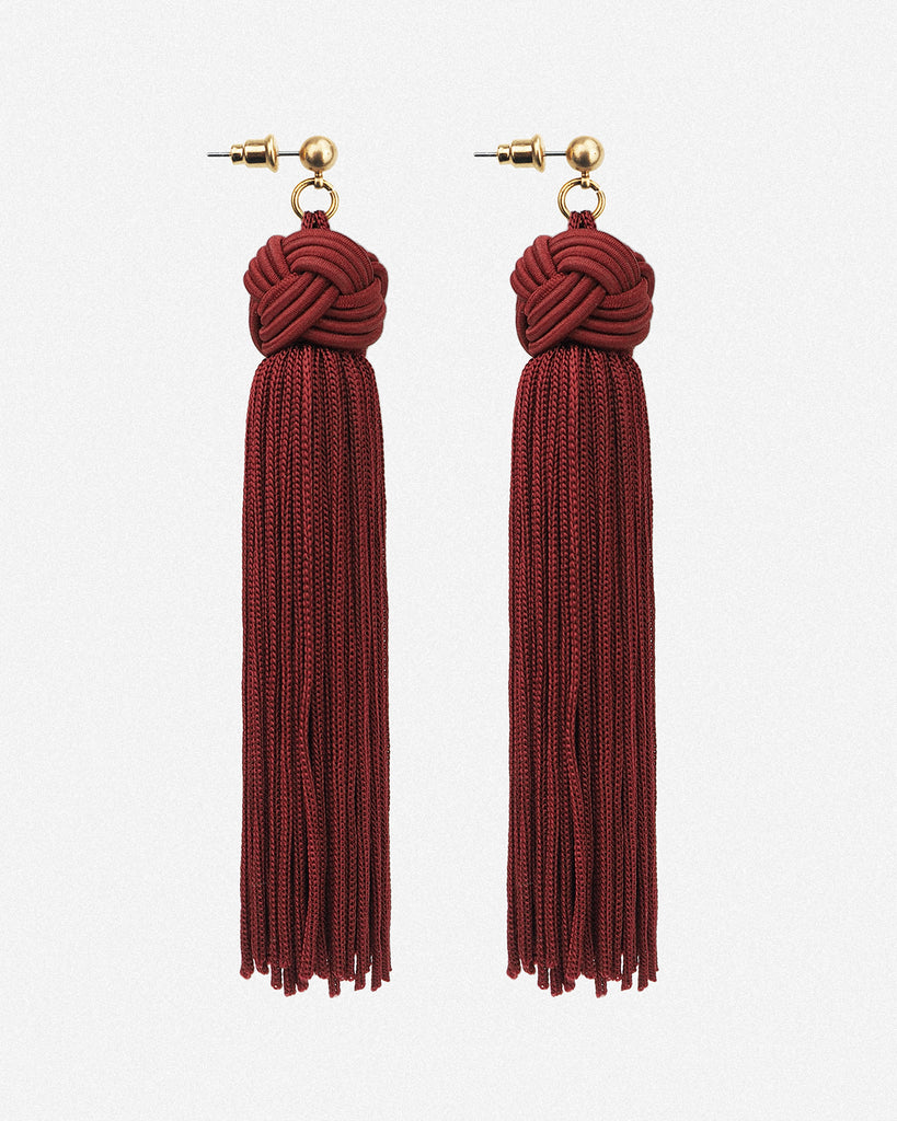 Johanna Silky Tassel Drop Earrings - Red
