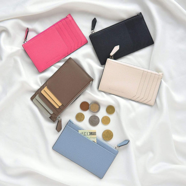 Noblessa Mini Zip Card Holder Wallet with Gusset