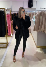 Faux Fur Long Panel Coat Black