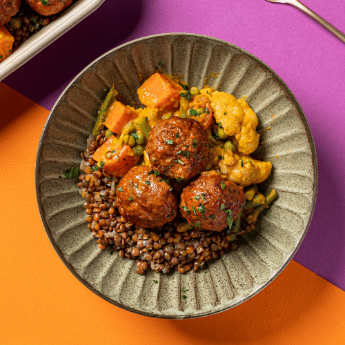 Indian Style Lamb Meatballs with Vegetable Curry, Cucumber & Mint Raita (Braised Lentils)