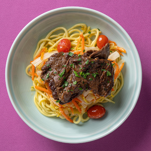 Korean Marinated Beef with Braised Young Cabbage, Roasted Cherry Tomatoes & Doenjang Dressing (Wonton Noodles)