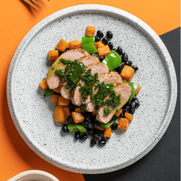 Cuban Style Mojo Roasted Pork Tenderloin with Pumpkin, Black Beans & Cilantro Dressing (Roasted Potatoes)