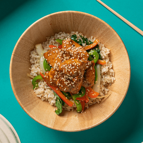 Sesame Glazed Chicken with Bok Choy, Roasted Peppers & Shredded Carrots (Brown Rice)