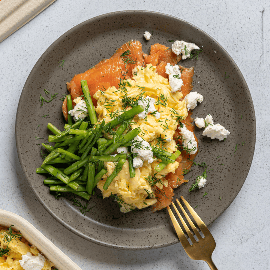 Smoked Salmon Scrambled Egg with Asparagus, Goat Cheese & Fresh Dill