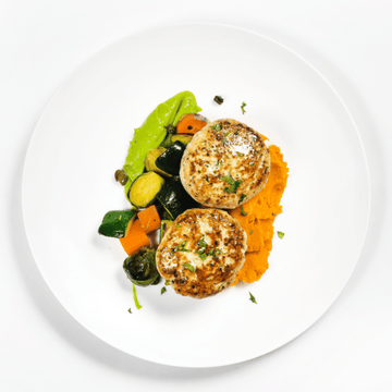 Cheddar & Jalapeno Turkey Burgers with Roasted Brussels Sprouts, Carrot & Avocado Mayo  (Sweet Potato Mash)