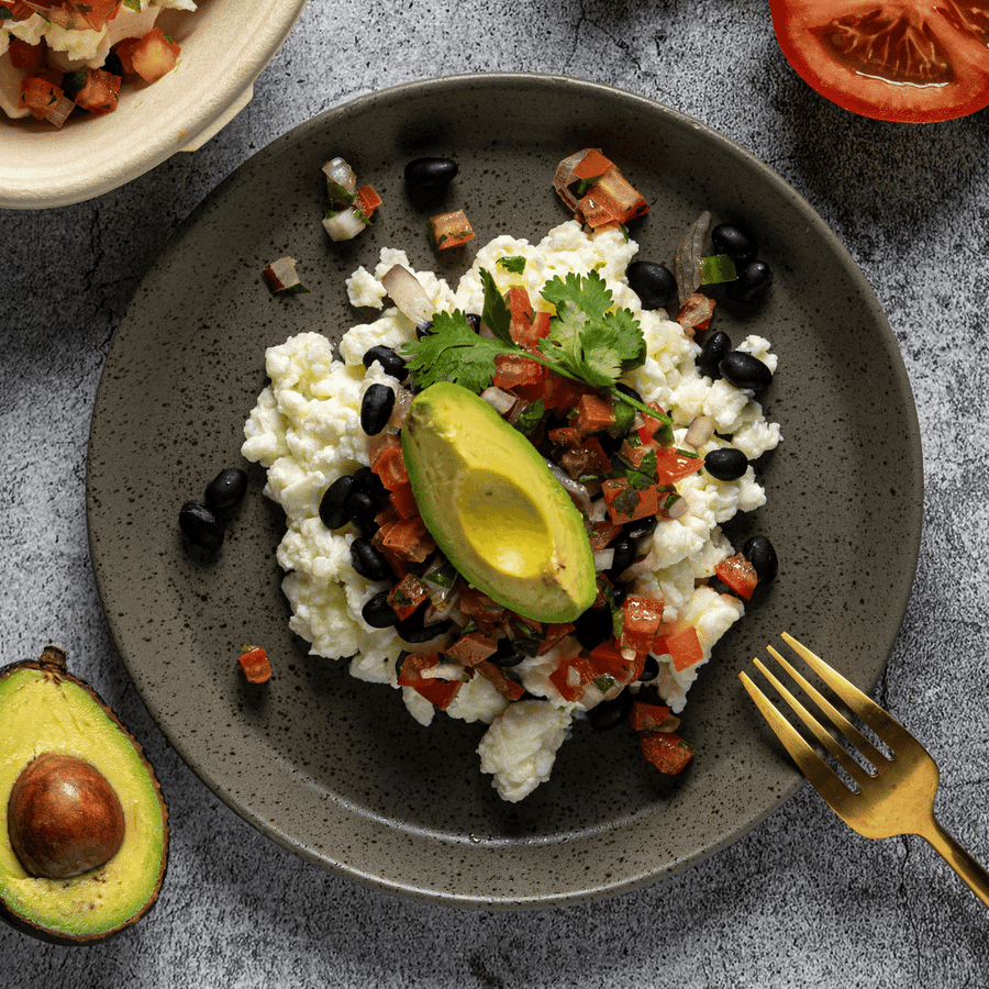 Egg White Huevos Rancheros with Black Beans, Avocado and Fresh Tomato Salsa Northern Indian Spiced