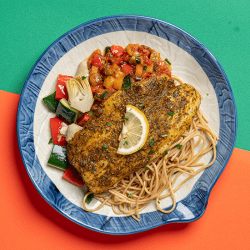 Preserved Lemon Marinated Sole Fish with Eggplant Caponata & Roasted Vegetables  (Whole Wheat Spaghetti)