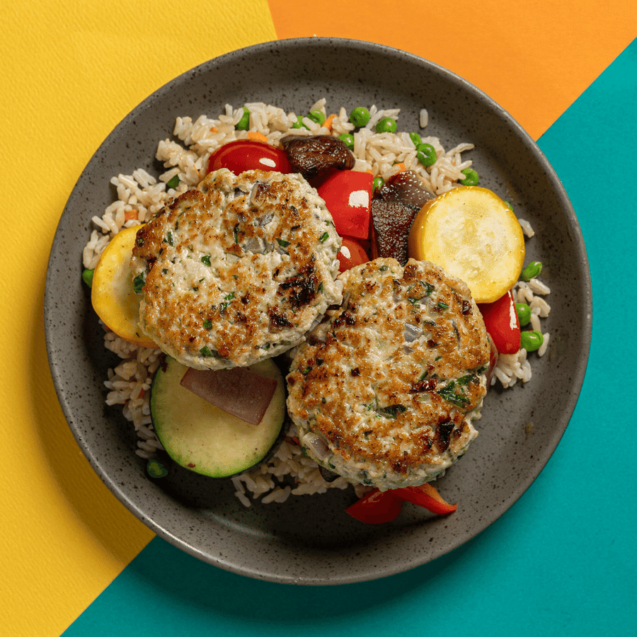 Greek Turkey Burgers with Feta Cheese, Roasted Mediterranean Vegetables & Tzatziki (Rice Pilaf)