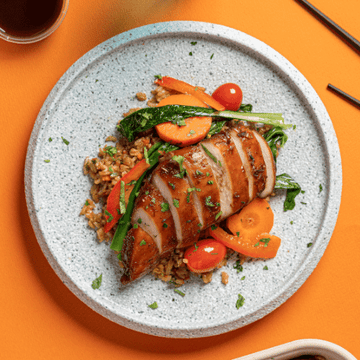 Isaan Style Roasted Chicken Breast with Choy Sum, Red Peppers & Carrots (Nasi Goreng Fried Rice)