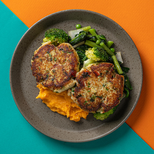 Coconut, Lime & Cilantro Fish Cakes with Pineapple & Mango Chutney (Sweet Potato Mash)