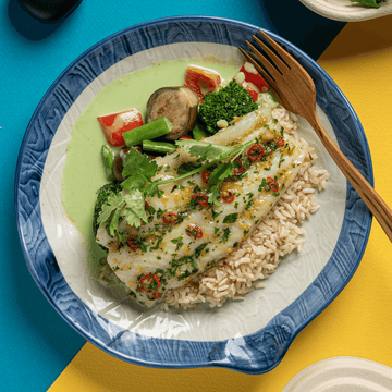 Thai Style Chili Lime Roasted Sole Fish with Coconut Green Curry Vegetables (Brown Rice)