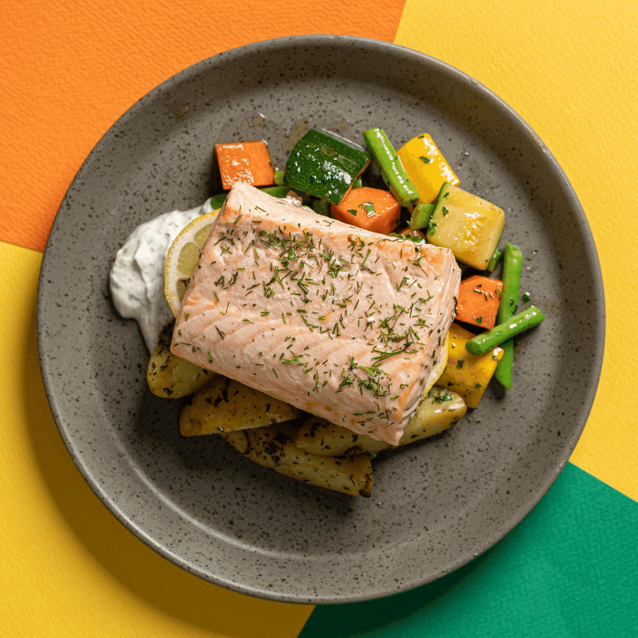 Swedish Style Lemon & Dill Salmon with Green Beans, Sliced Carrots, Zucchini, Yoghurt & Herb Remoulade (Roasted Potatoes)