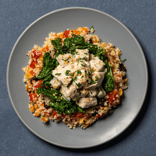 Yoghurt & Tahini Chicken Salad with Sautéed Kale & Pickled Vegetables (Almond Raisin Bulgur wheat)