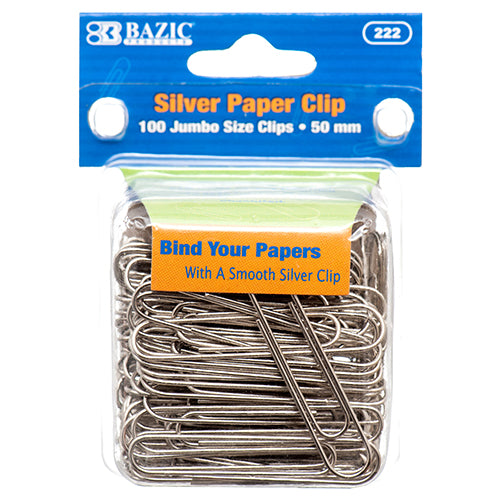 SILVER PAPER CLIP 50MM 100PC JUMBO SIZE