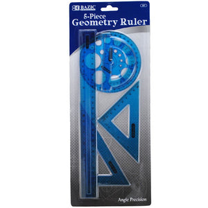 GEOMETRY RULER 5PC ASST COLORS