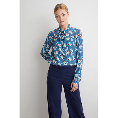 Berta silk blouse shadow crane