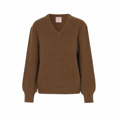Schulz by Crowd Britz knit striktroeje i lambswool brun sweater