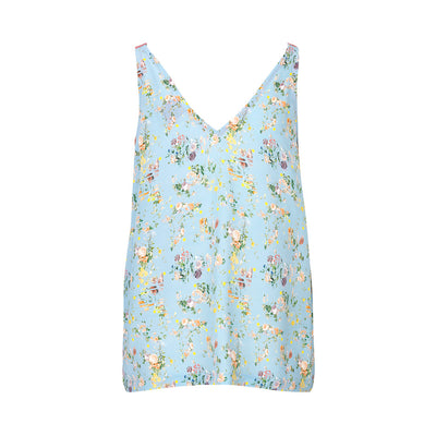 schulz by crowd silke top med blomster print bagfra
