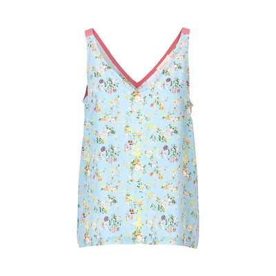 Schulz by crowds silke top med blomsterprint