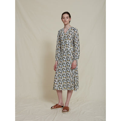 Schulz by Crowd dandy dress silke kjole silkekjole med print rosebox print roser tern