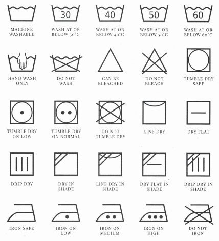 Dresses Boutique Wassymbolen Wash symbols
