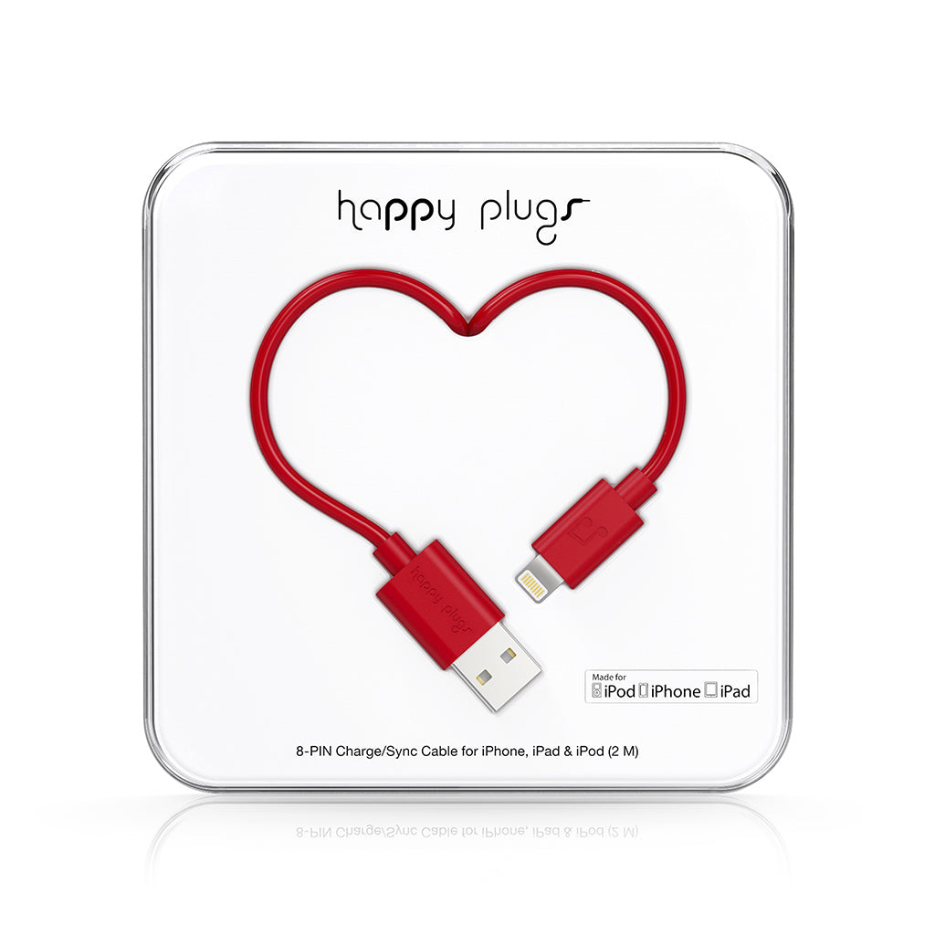 USB A / Lightning-kaapeli - Red - Happy Plugs - Bonmarks.fi
