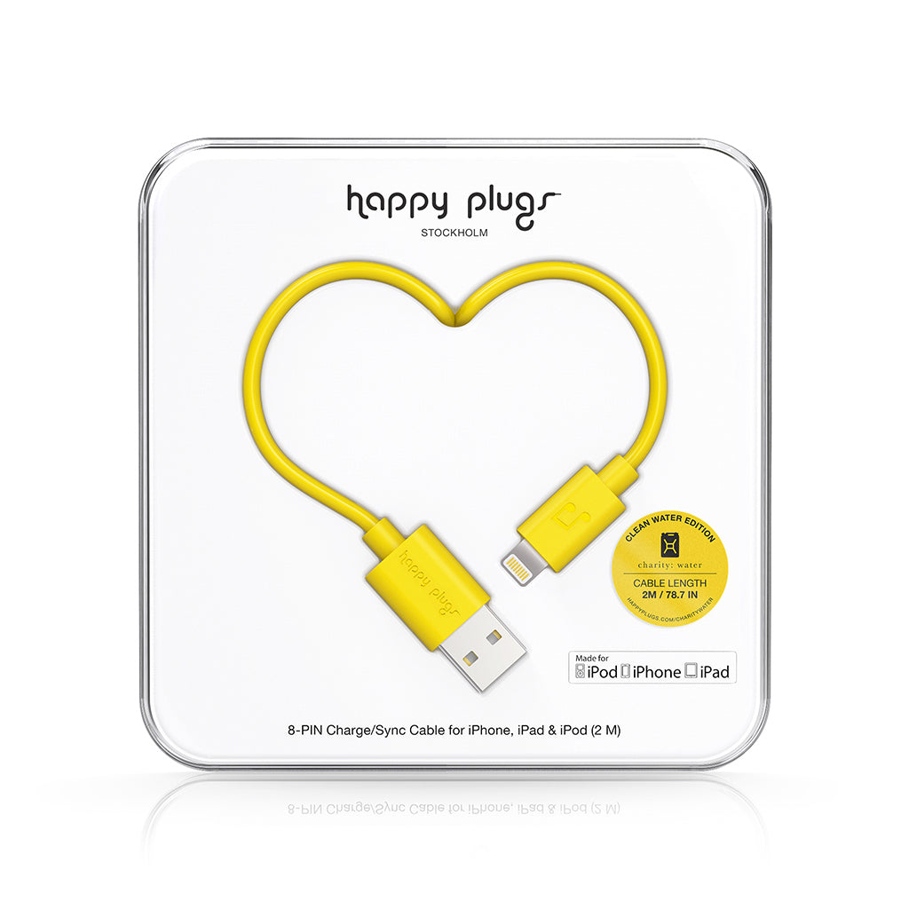 USB A / Lightning-kaapeli - Yellow - Happy Plugs - Bonmarks.fi