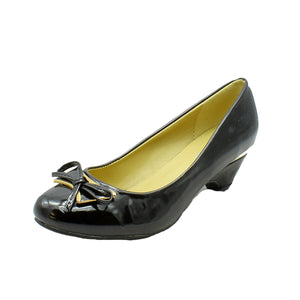 Low heel Court shoes with gold edging + bow front