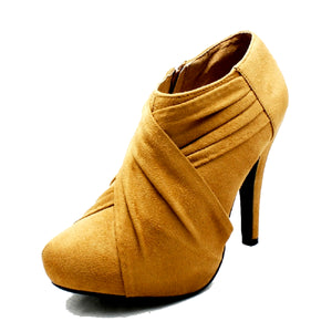 Faux suede high heel ankle boots / shoe boots
