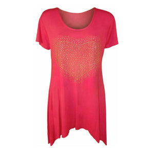 Flared hem long length top with gold studded heart