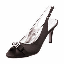Load image into Gallery viewer, Satin open toe sling back high heel party shoes with diamante detail