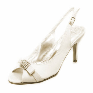 Satin open toe sling back high heel party shoes with diamante detail