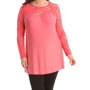 Long Sleeve Lace v Neck Tunic Top - Plus sizes too