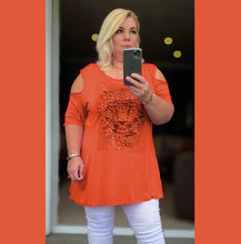 Load image into Gallery viewer, Open shoulder short sleeve long top with sequin tiger