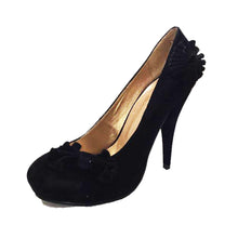 Load image into Gallery viewer, Suedette concealed platform court shoes with side bow