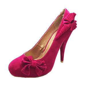 Suedette concealed platform court shoes with side bow