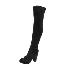 Load image into Gallery viewer, Black suedette knee boots - frilled toe and block heel
