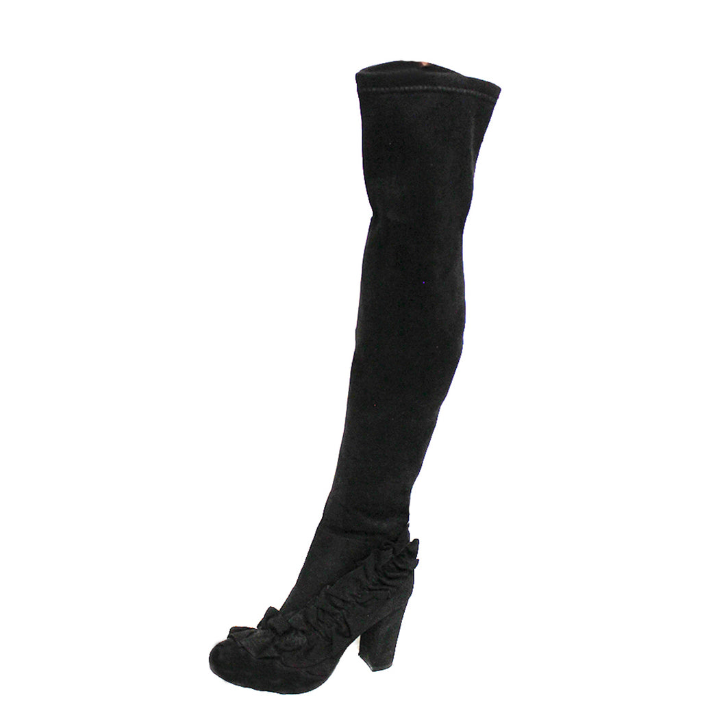 Black suedette knee boots - frilled toe and block heel
