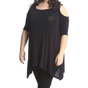 Sparkly Open shoulder loose fitting swing top