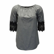 Load image into Gallery viewer, Check pattern top with lace sleeves - plus sizes