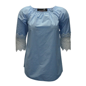 Check pattern top with lace sleeves - plus sizes
