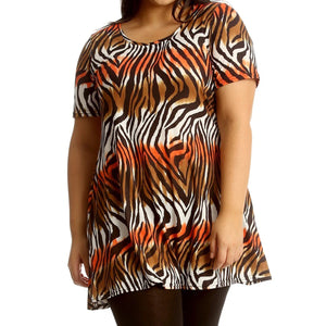 Short Sleeve Printed Swing top - Plus Sizes Too