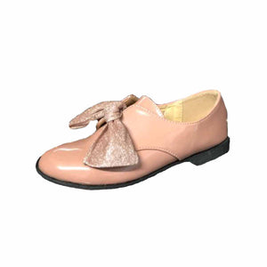 Childrens Pink Patent flat loafer shoes with sparkly bow