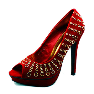 Suedette peep toe high heel court shoes with metal eyelets