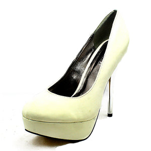 Faux Nubuck high metal heel court shoes