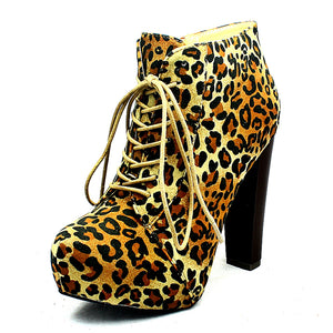 Leopard faux suede lace up ankle boots with block heel - CLEARANCE