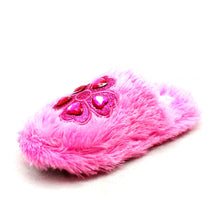 Load image into Gallery viewer, Fluffy mules open back slippers with flower gem detail
